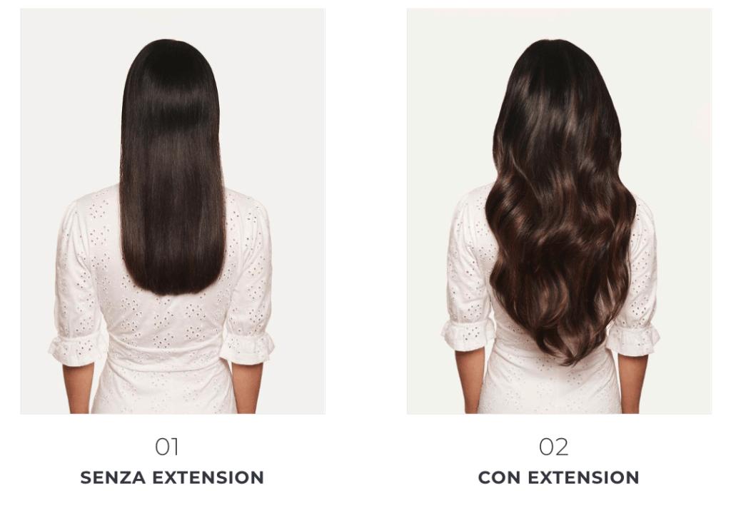 hair extension prima e dopo 1